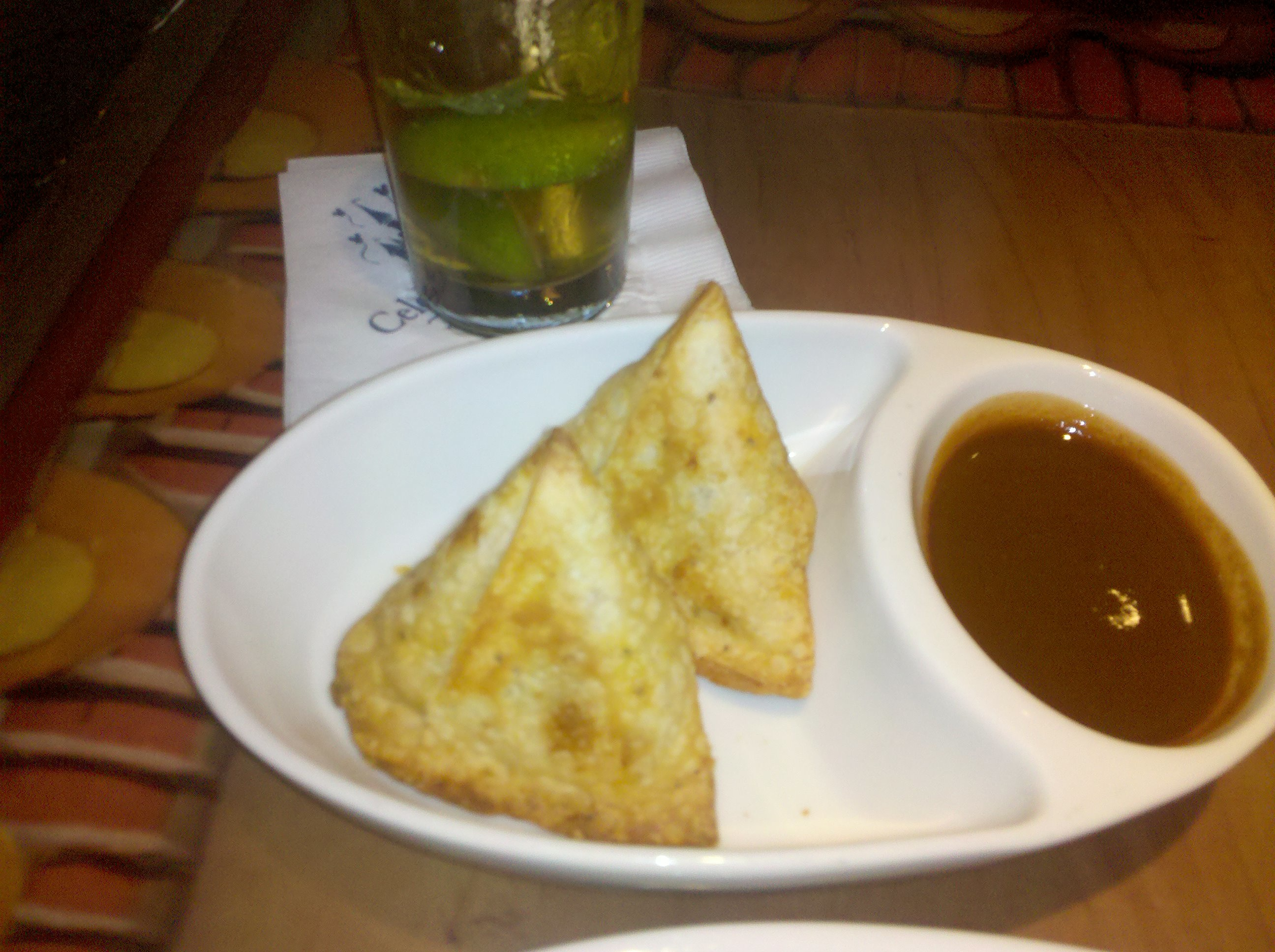 Samosas and Tamarind Chutney at Sanaa
