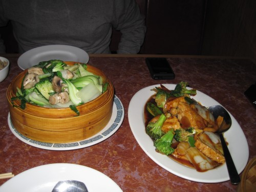 Dinner of Steamed Greens and Homestyle Tofu at Asian Bistro Williston VT