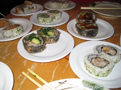 An assortment of amazing veggie sushi rolls - I think there were 8
